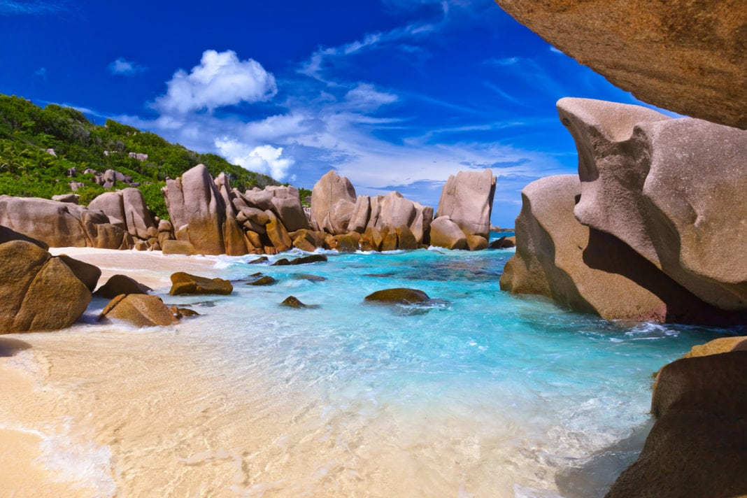 Tropical Beach At Seychelles Nature Background