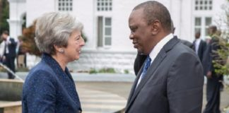 Theresa May and President Kenyatta in Africa