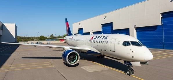Delta Air Lines' first A220-100 rolls out of paint shop in Mirabel, Québec