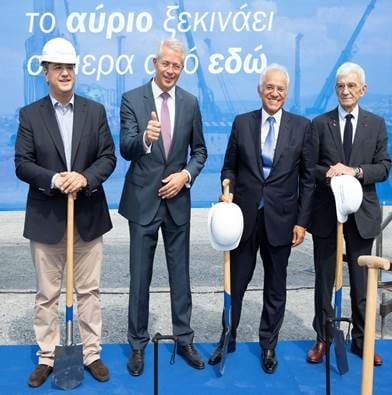 Groundbreaking for the future new terminal at SKG - (L-R) Groundbreaking for the future new terminal at SKG - (L-R) Apostolos Tzitzikostas (Governor of Central Macedonia); Dr. Stefan Schulte (Fraport CEO; Dimitris Copelouzos (CEO Copelouzos Group); Giannis Boutaris (Mayor of Thessaloniki)
