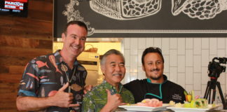 Gov. Ige with Rick Jauert and Andy Ocetnik at the new Makai Plantation at one of Hawaii's airports