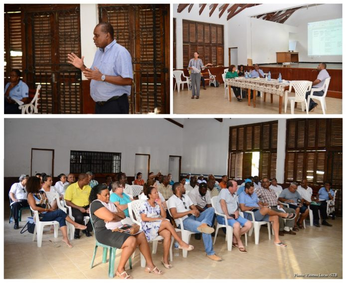 Seychelles Minister Dogley meets stakeholders from La Digue in a public meeting