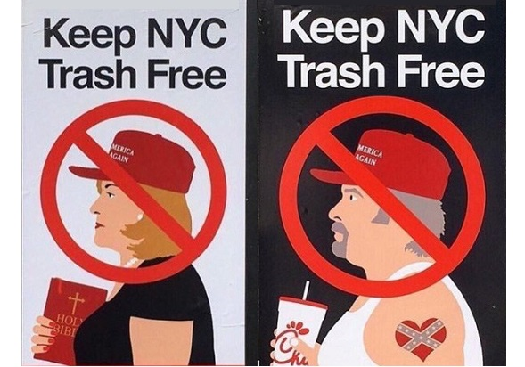"""New """"Keep NYC Trash Free"""" posters amuse New York tourists, irk Trumpers"""
