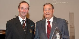 Captain Christopher Wells, Master of Queen Mary 2 with Kenneth C. Rowe, recipient of Samuel Cunard Prize for Vision, Courage and Creativity