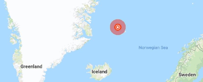 Strong 6.8 earthquake strikes Jan Mayen Island region