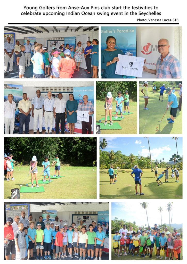 Young golfers from Anse-Aux Pins club start the festivities in Seychelles