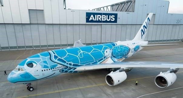 First ANA A380 rolls-out of paint shop with unique livery