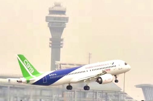 Third Chinese prototype passenger plane completes its maiden flight