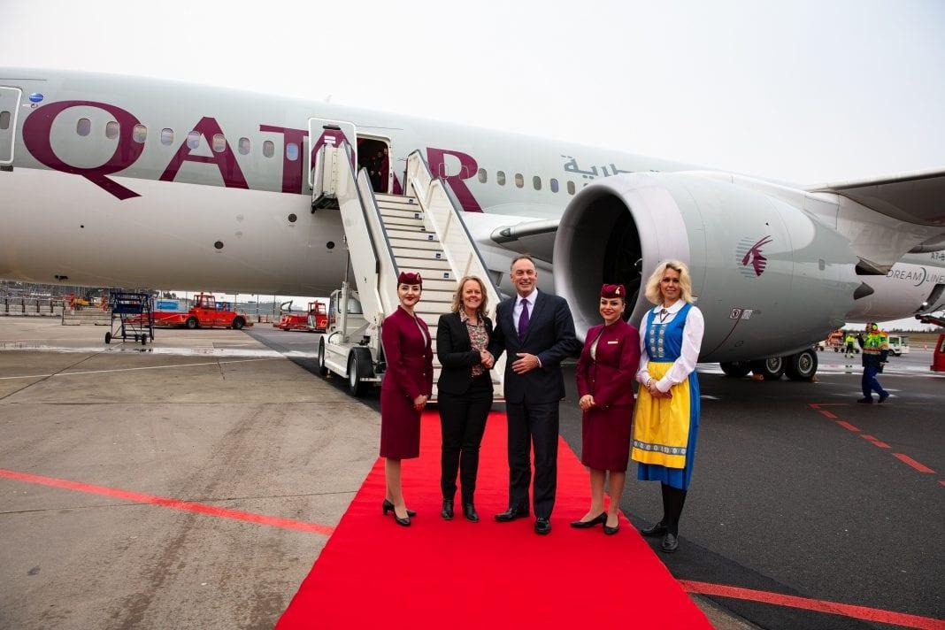 Qatar Airways' inaugural flight touches down at Gothenburg Landvetter Airport