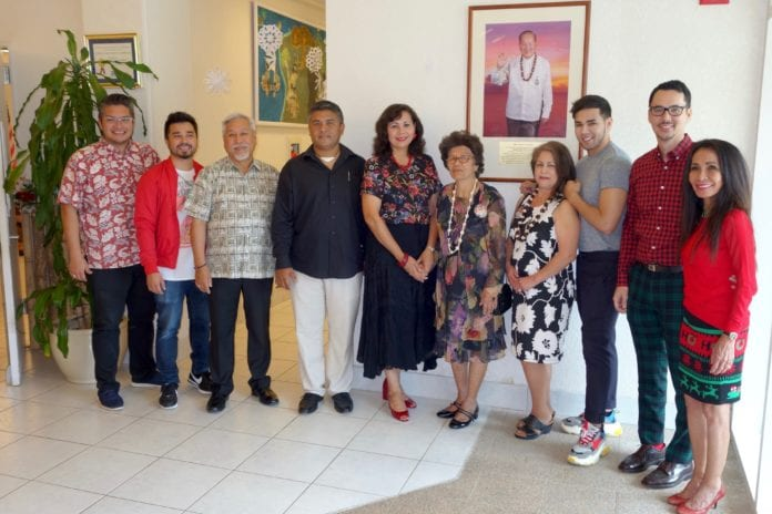 (L-R) Antonio Muña, Jr. (Vice President – GVB), Nico Fujikawa (GVB Acting Director of Tourism Research), Milton Morinaga (GVB Board Chairman), Raphael Unpingco (son of Bert Unpingco), Pilar Laguaña (GVB Director of Global Marketing), Virginia Lujan Taitano Unpingco (wife of Bert Unpingco), Gloria Unpingco Santiago (daughter of Bert Unpingco), Iowani Unpingco (grandson of Bert Unpingco), Nathan Denight (GVB President and CEO), Rose Q. Cunliffe (GVB Director of Finance and Administration).