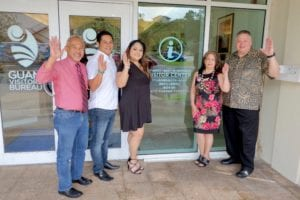 "Jim Espaldon (Senator of the 34th Guam Legislature), Dennis ""DJ"" Unpingco (grandson of Bert Unpingco), Pualei Unpingco (granddaughter of Bert Unpingco), Gloria Unpingco Santiago (daughter of Bert Unpingco), and Dennis Unpingco (son of Bert Unpingco)."