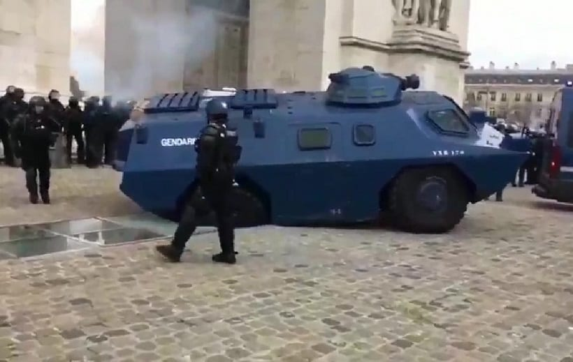 Iconic Paris tourist landmark damaged by police armored vehicle