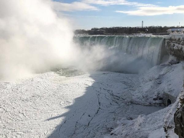 1848 and 2019: Niagara Falls is frozen