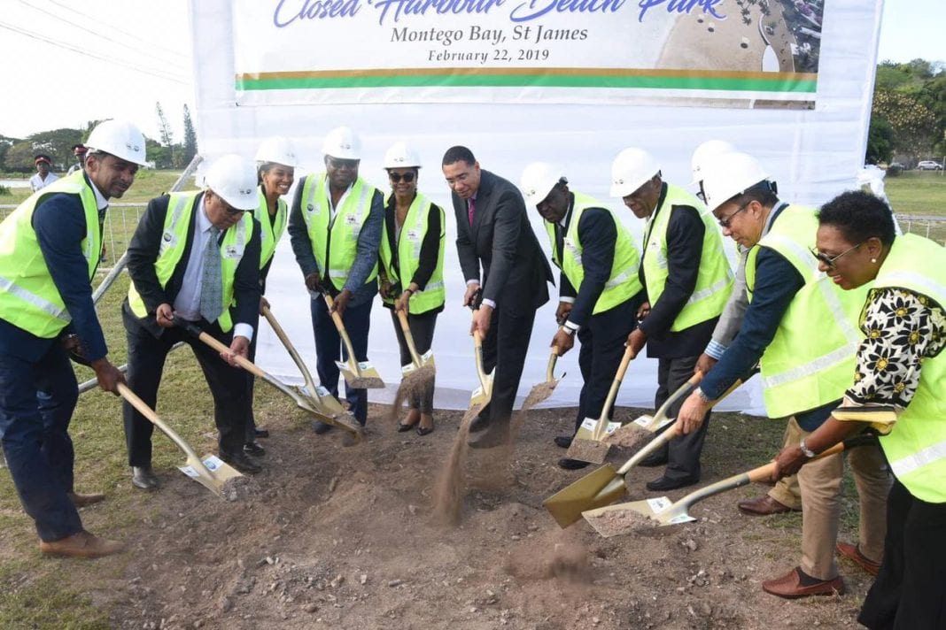 Jamaica  Prime Minister Andrew Holness breaks ground for Closed Harbour Beach Park