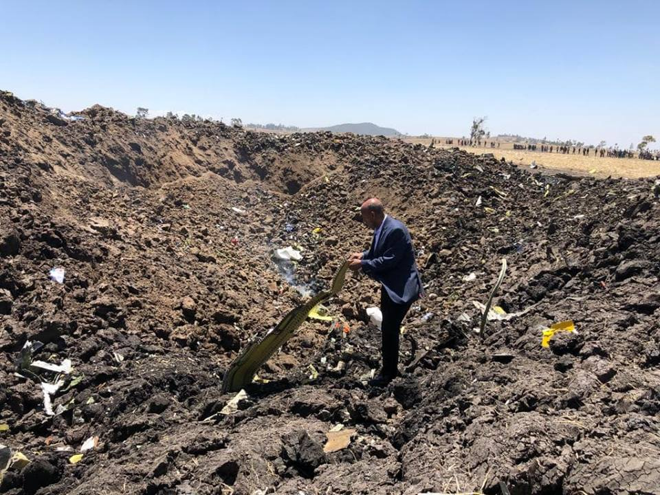 Ethiopian Airlines CEO Tewolde Gebre Mariam statement from the ET 302 crash site