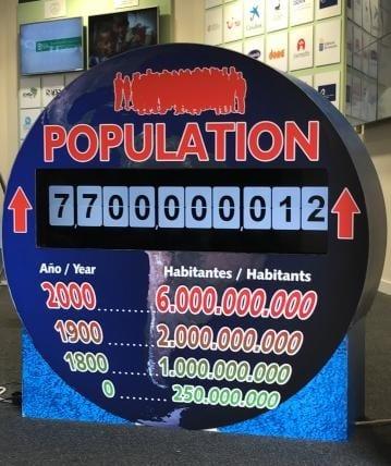 Loro Parque's World Population Clock breaks 7,7 billion barrier