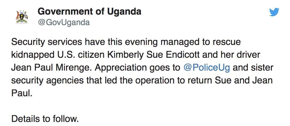 , Uganda Tourism  Chief: Kidnapped American tourist is safe – rescue completed, Buzz travel | eTurboNews |Travel News
