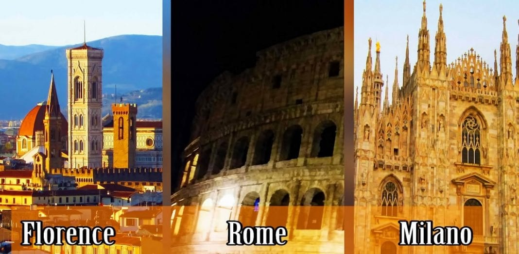 Which 3 Italian cities rank as top unique experiences?