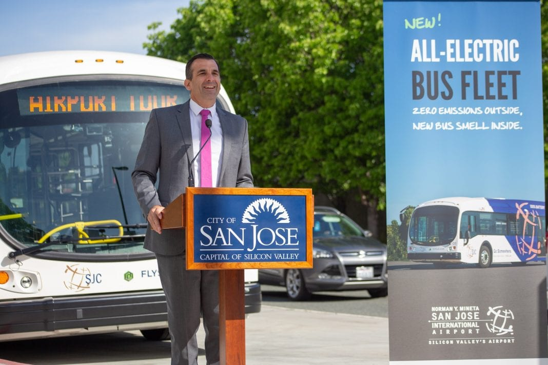 Mayor Liccardo commissions San José International Airport's new fleet of all-electric buses