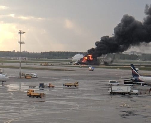 Burning Superjet-100 plane crash-lands at Moscow's Sheremetyevo Airport