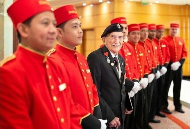 Cunard cruise line welcomes back its oldest living former crewmember