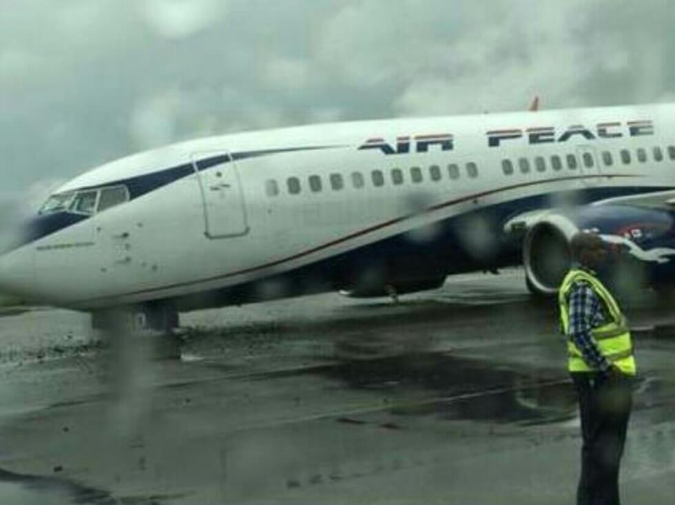 Nigerian Air Peace Boeing 737's landing gear collapses on emergency landing