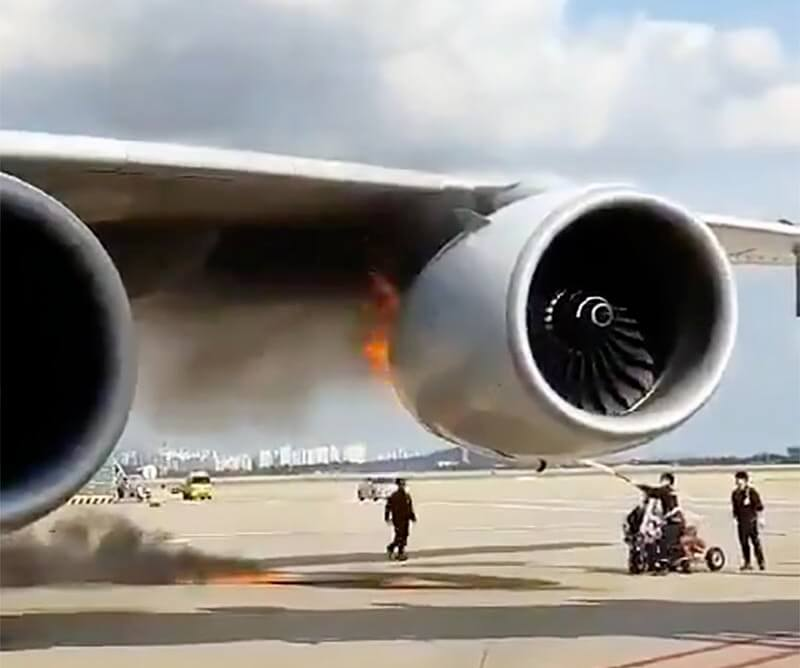 Los Angeles-bound A380 Superjumbo jet burns at Seoul Incheon Airport
