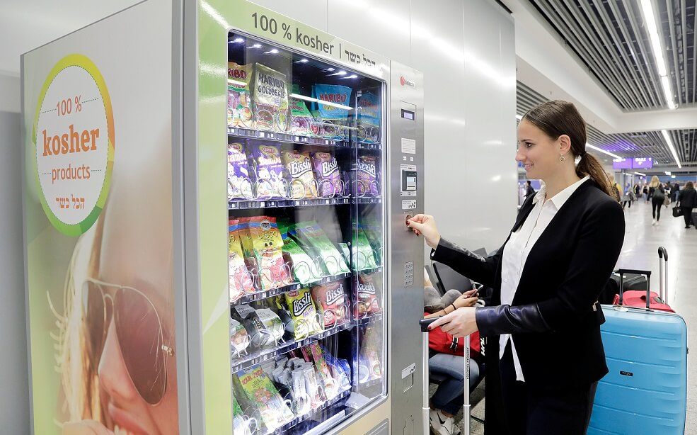 Kosher vending machine at Frankfurt Airport's Departures Hall C offers food conform to Jewish dietary laws