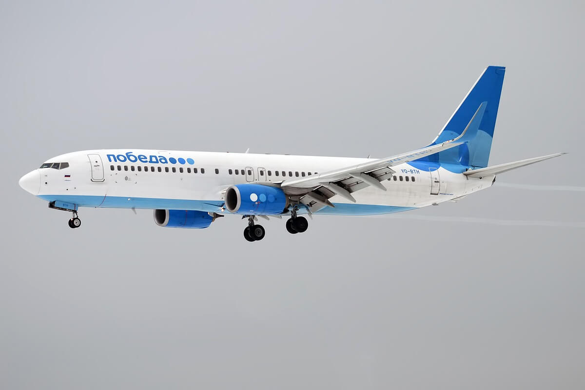 Russian low-cost Pobeda Airlines lands at Dubai International Airport