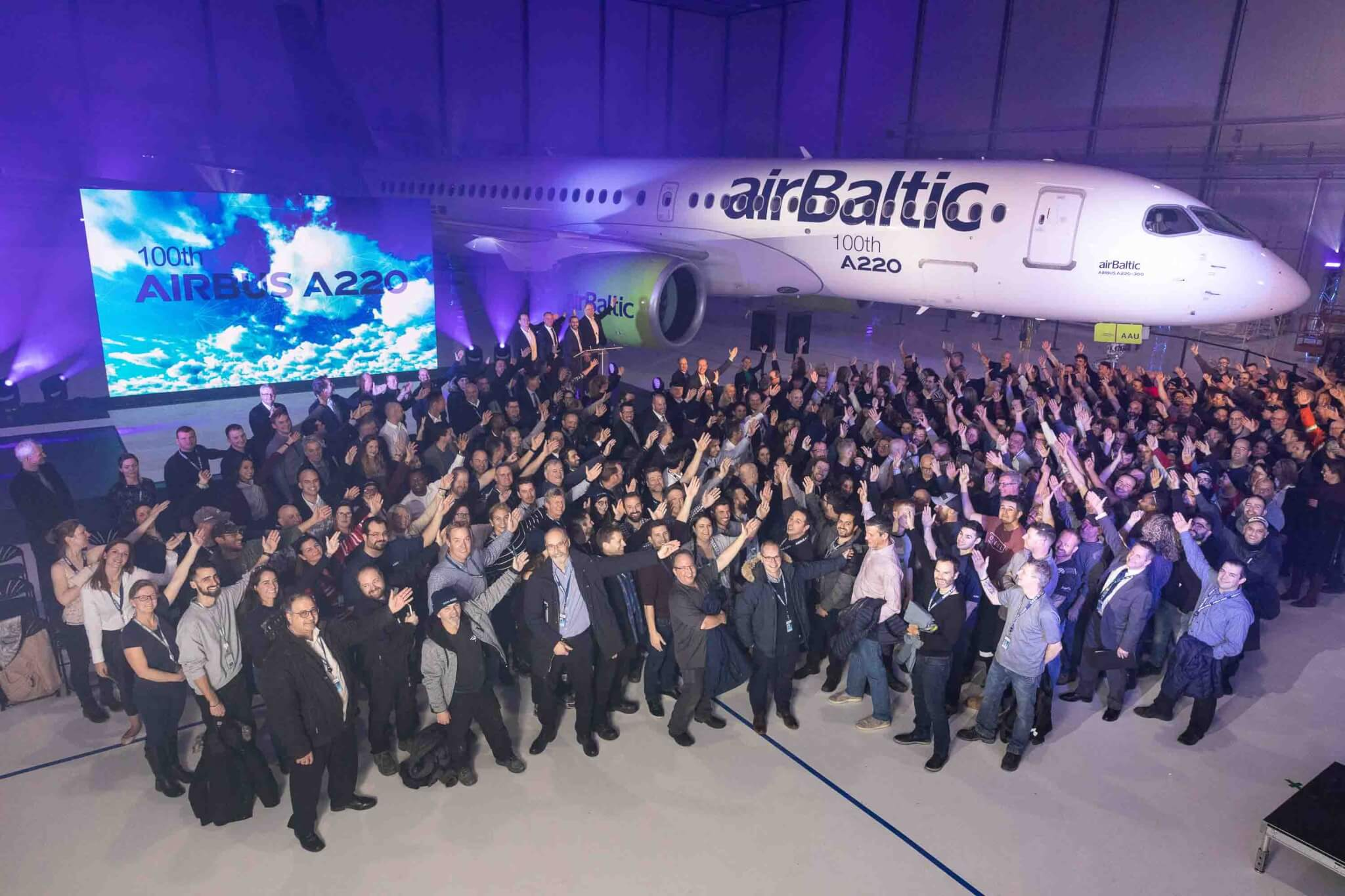 Airbus rolls out 100th A220 aircraft produced