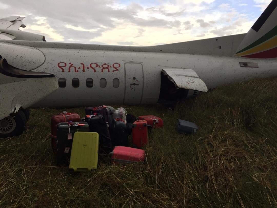 Ethiopian Airlines took off in bad weather and skid off the runway