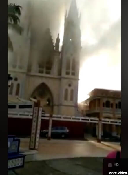Landmark Cathedral burned down in Malabo, Equatorial Guinea