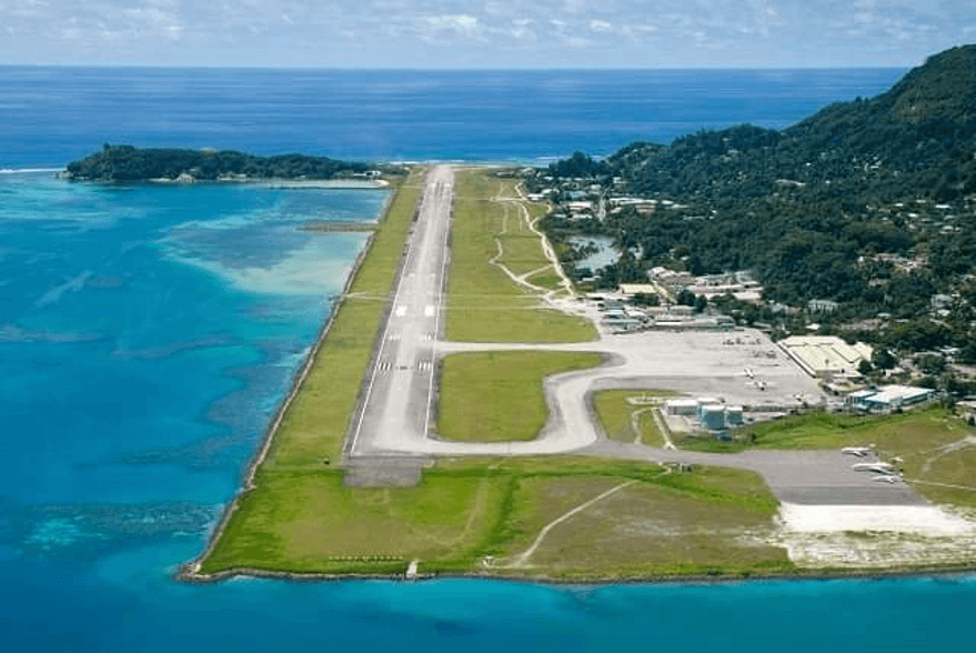 Seychelles International Airport from a historical post