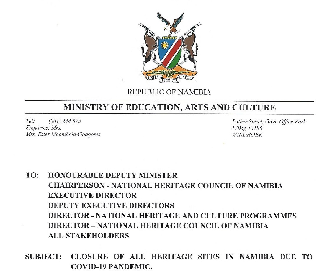 Namibia is closing tourism heritage sites and issues directives