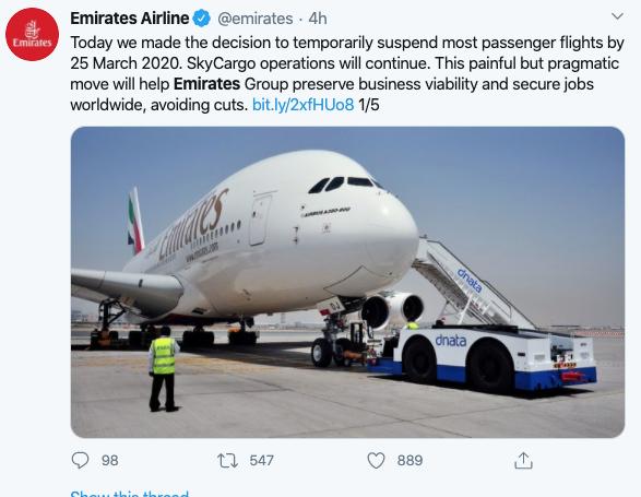 Zrakoplovna kompanija Emirates zaustavlja sve putničke letove