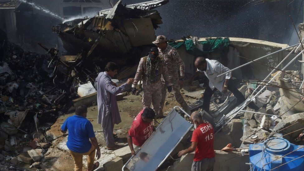 Pakistan International Airlines jet with 107 people on board crashes in Karachi