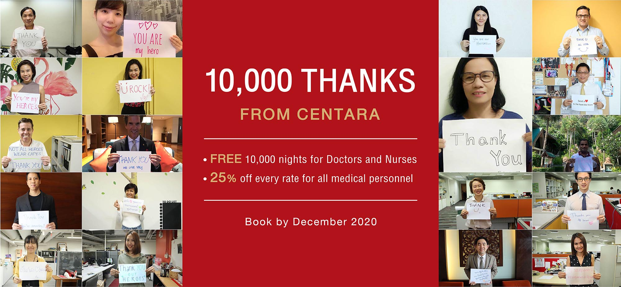 Centara donates 10,000 room nights to medical heroes