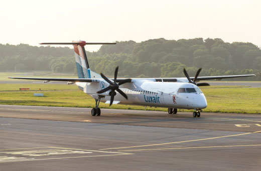 Luxair Luxembourg Airlines flies into Budapest Airport