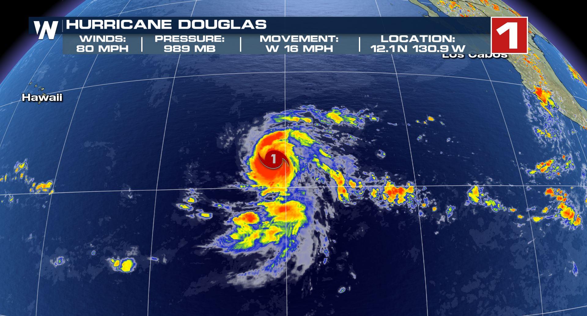 Hurricane Douglas on a path directly to Hawaii