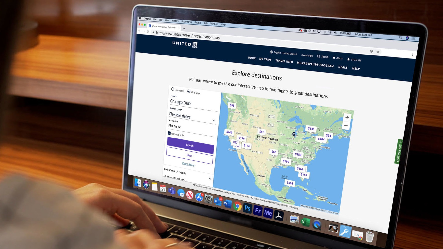 United first US airline to launch online 'Map Search' feature