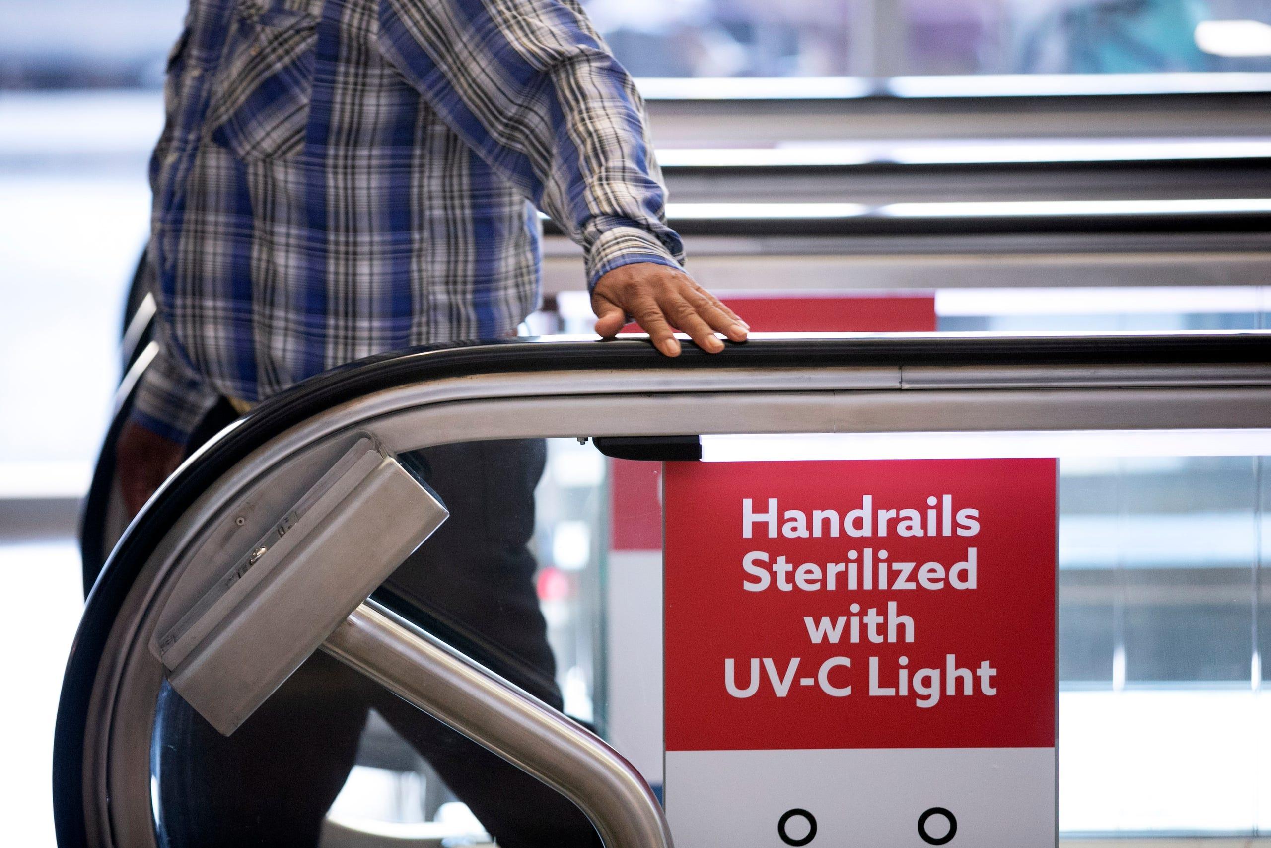 Mineta San José International Airport installs UV light devices on all escalators