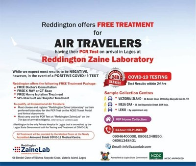 Nigeria offers international air travelers access to free COVID-19 treatment