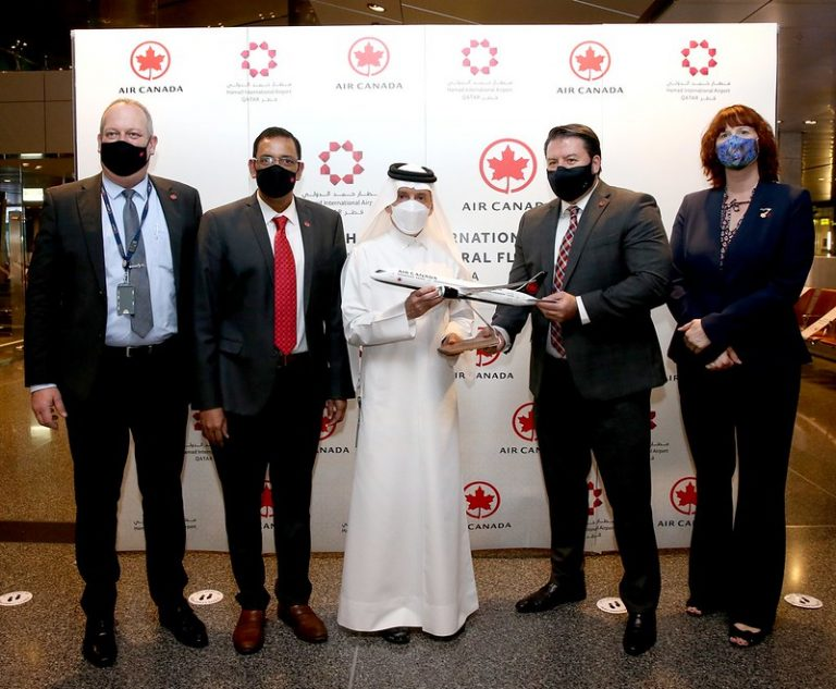 First Air Canada flight from Toronto to Doha lands at Hamad International Airport